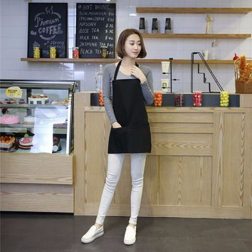 New 2017 Fashion hot color black Polyester fiber women Cafe Kitchen clean Cook Apron Pinafores Tablier