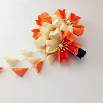 Japanese traditional Style kimono Orange flower yukata bride hair decoration ornament headwear hair accessories summer style