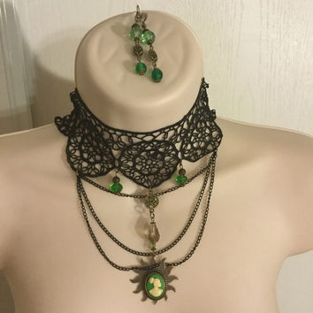 Vintage Green Cameo Lace necklace/Free Shipping
