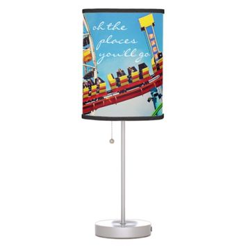 """Places"" ferris wheel & coaster photo table lamp"