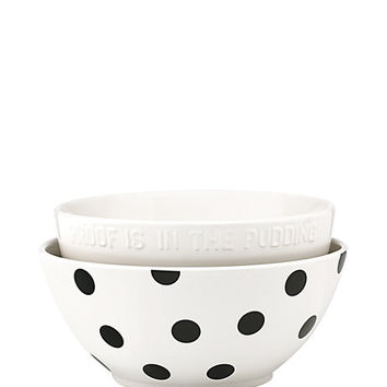 Kate Spade Deco Dot Set Of 2 Mixing Bowls Black/White ONE
