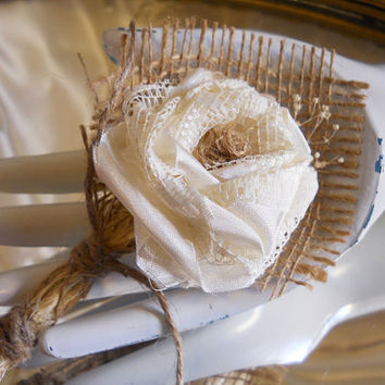 Burlap Boutonniere, handmade of silk, lace, twine and natural burlap. Rose color is available in Ivory, White or Black. (Ivory shown)