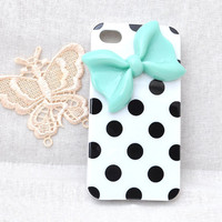 Black dots white soft TPU Silicone case for iphone 4 4S or 5 protective cover with mint resin bow / bowknot