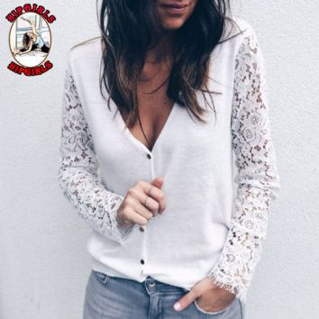 New fashion lace long sleeve top sweater White