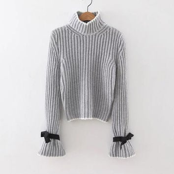 Grey Turtle Neck Bow Embellished Bell Sleeve Sweater