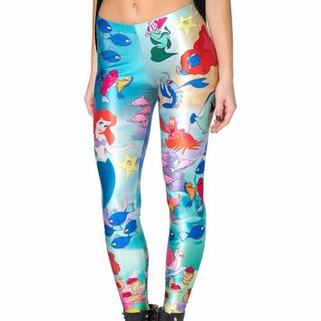 New 3290 Sexy Girl Slim Ninth Pants Under The Sea Mermaid princess Printed Stretch Workout Fitness Women Leggings Plus Size