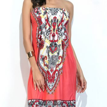 Streetstyle  Casual Ethnic Style Strapless Smocked Bodice Printed Shift Dress