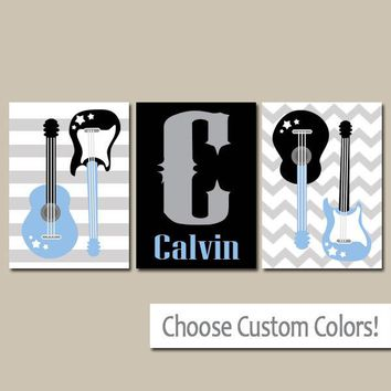 GUITAR Wall Art, CANVAS or Prints Music Theme Nursery Boy Bedroom Name Wall Art, Music Art Rock N Roll and Set of 3 Boy Decor Guitars