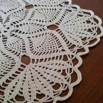 Beige Doily, Crochet Tablecloth, Lovely Gift, Ready to Ship
