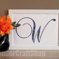 custom monogram, father's day gift, letter w, blue and grey decoration, gift for father, gift for grandfather, cut out letter, quilling art