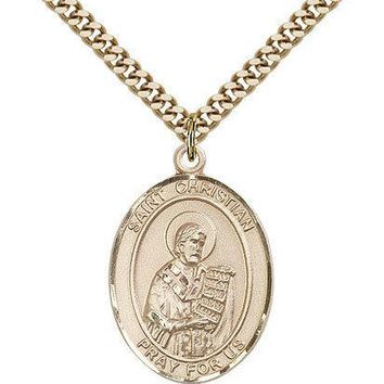"Saint Christian Demosthenes Medal For Men - Gold Filled Necklace On 24"" Chain... 617759186956"