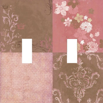 Wall Art DOUBLE Light Switch Plate pink brown elegant cover BEAUTIFUL floral