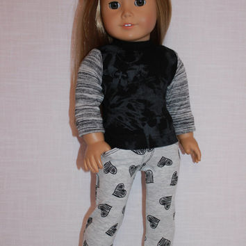 18 inch doll clothes, abstract print long sleeve shirt and heart sketch print stretchy  jeggings, Upbeat Petites