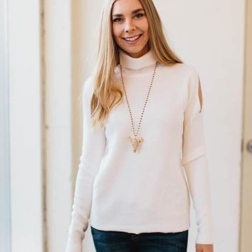 Count on Me Cold Shoulder Sweater