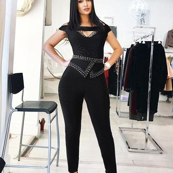 Darina Black Jumpsuit with Embellished Belt