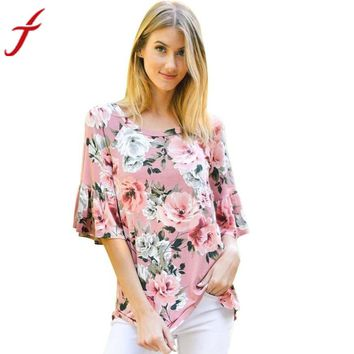 Flare Flower Printed Three Quarter Sleeve Casual O-Neck Pink Tops Tee
