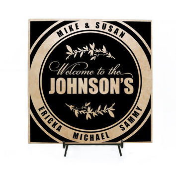 Welcome Personalized Sign, Personalized Wood Sign, Personalized Tile Sign, Name Welcome Sign, Wedding Decor, Anniversary Gift, Custom Tile