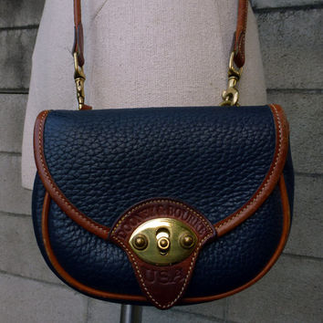 Dooney and Bourke Purse Vintage 1980s Navy Blue and Carmel Brown Belt Awl Leather Bag Handbag