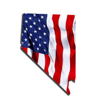 Nevada Waving USA American Flag. Patriotic Vinyl Sticker