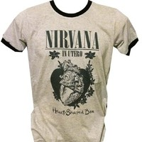 Nirvana T-shirt Kurt Cobain Dave Grohl Rock Band Gray Size M J141