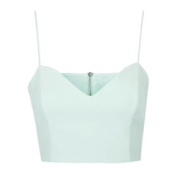 Crepe Sweetheart Crop Top - Ice Blue