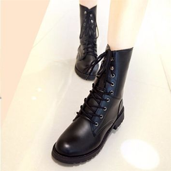 Women Boots Lace Up Flat Biker Military Army Combat Black Boots Shoes Woman botas ug australia mujer Women Martin Boots886