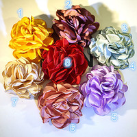 Satin Flowers Elegant Rose- Satin Flowers, Fabric Flowers, Silk Flowers, Hair Flowers, Flower Headband - Hairbow Supplies