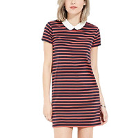 women cute Peter pan collar straight dress red striped short sleeve ladies summer fashion casual Mini dresses vestir QZ2411