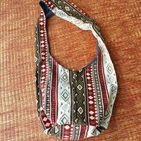 Crossbody Shoulder Bag Hippie Tribal Boho Bag Sling bag Ikat Aztec Southwestern festival style handbag Hobo Yam Bag Vegan Gift for men women