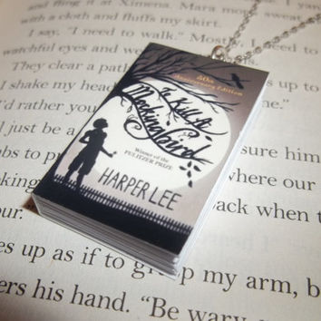 To Kill a Mockingbird Necklace, Harper Lee Jewelry, Miniature Book Necklace, Atticus Finch Literarure Bibliophile Jewelry