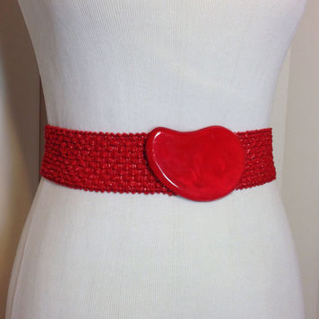 Vintage Red Stretch Cinch Belt with Red Plastic Buckle