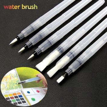 6Pcs/Set Different Shape Portable Water Color Brush Pen Paint Watercolor Brush Pen for Kids Child Painting Drawing Art Supplies