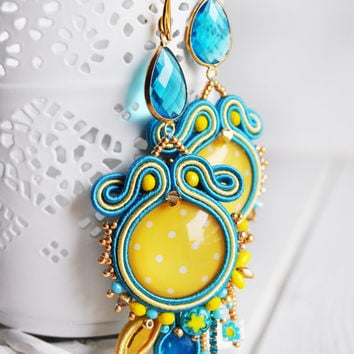 Soutache earrings, swarovski earrings, yellow blu earrings, beaded soutache, embroidery earrings, long  earrings, soutache jewelry, OOAK