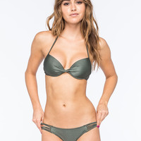 Full Tilt Strap Side Bikini Bottoms Military  In Sizes