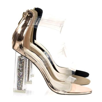 Alora1 By X2B, Clear See Through Perspex Block Heel Sandal w Glitter Plexiglas