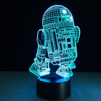 Star Wars R2-D2 3D Illusion Night Light Colorful USB Table Lamp Touch/Remote Bed Room Decorative Lighting for Children Gift