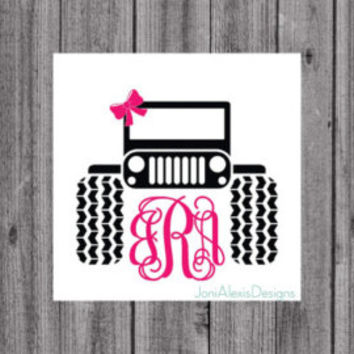 Jeep Monogram Decal- Vinyl Jeep Monogram Window Decal- Laptop Decal- Jeep Window Decal- Jeep Decal- Yeti Decal