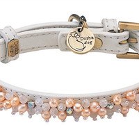 Mini Pearl & Rose Quartz Beads on White Leather Dog Collar