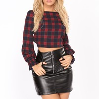 Abby Plaid Top - Navy/Red