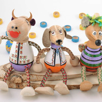Set of 3 handmade colorful painted wooden eco toys cow mouse and dog for kids