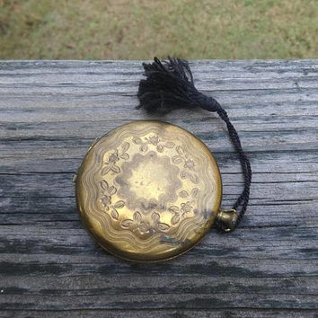 1950s Vintage Zell 5th Avenue Pocket Watch Style Powder Compact, Black Tassel, No Guts, Etched Gold Tone Case, Vintage Vanity Makeup, USA