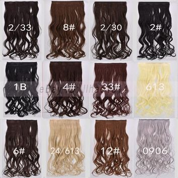 Women's Hair Extension One Piece 5 Clip Long Wavy Curly Heat Resistant Hairpiece