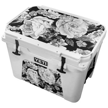Black and White Color Scheme With Painted Floral Arrangement Skin for the Yeti Tundra Cooler