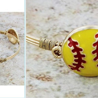 Yellow softball gold tone wire bangle, player, team, sport, fan