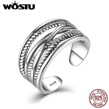 WOSTU High Quality Real 925 Sterling Silver Intertwine Open Rings For Women Men Vintage Style Fine Jewelry CSR005
