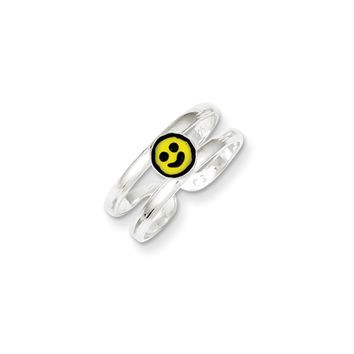 Yellow & Black Enameled Smiley Face Toe Ring in Sterling Silver