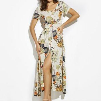 Plant Print Vacation High-Waist Drawstring Women's Maxi Dress