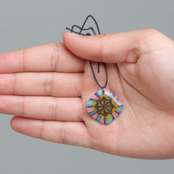 Handmade bright motley polymer clay pendant necklace with ornament on cord