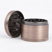 New 4 Layer Aluminium Alloy Diameter 63mm Bronze Grinder Hookah Weed Tobacco Herb Grinder