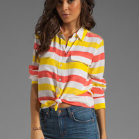 Equipment Cabana Stripe Slim Signature Blouse in Blazing Yellow/Coral from REVOLVEclothing.com